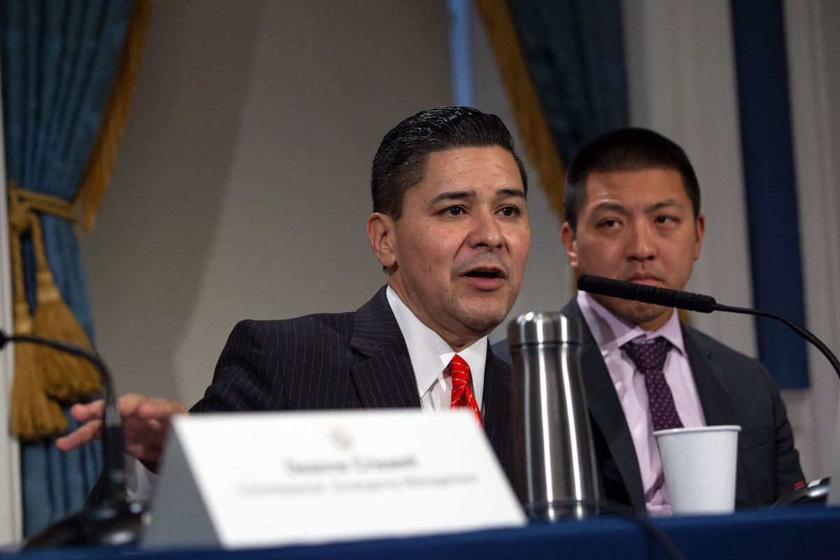 Schools Chancelor Richard Carranza speaks about testing students and DOE workers during a City Hall press conference on the coronavirus.