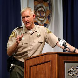 Salt Lake County Sheriff Jim Winder announces he will leave his elected position to become the chief of police in Moab during a press conference at the Salt Lake County Sheriff's Office in Salt Lake City on Tuesday, May 30, 2017.