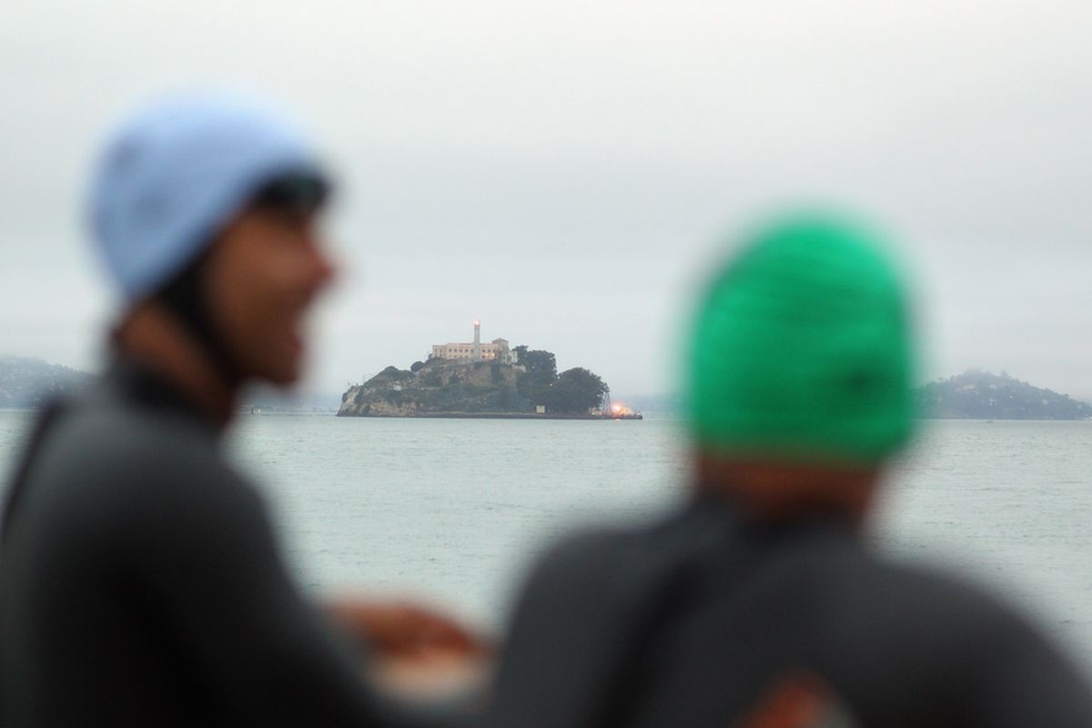 Competitors ride a boat to the start of the San Francisco Triathlon At Alcatraz on August 21, 2011 in San Francisco, California.