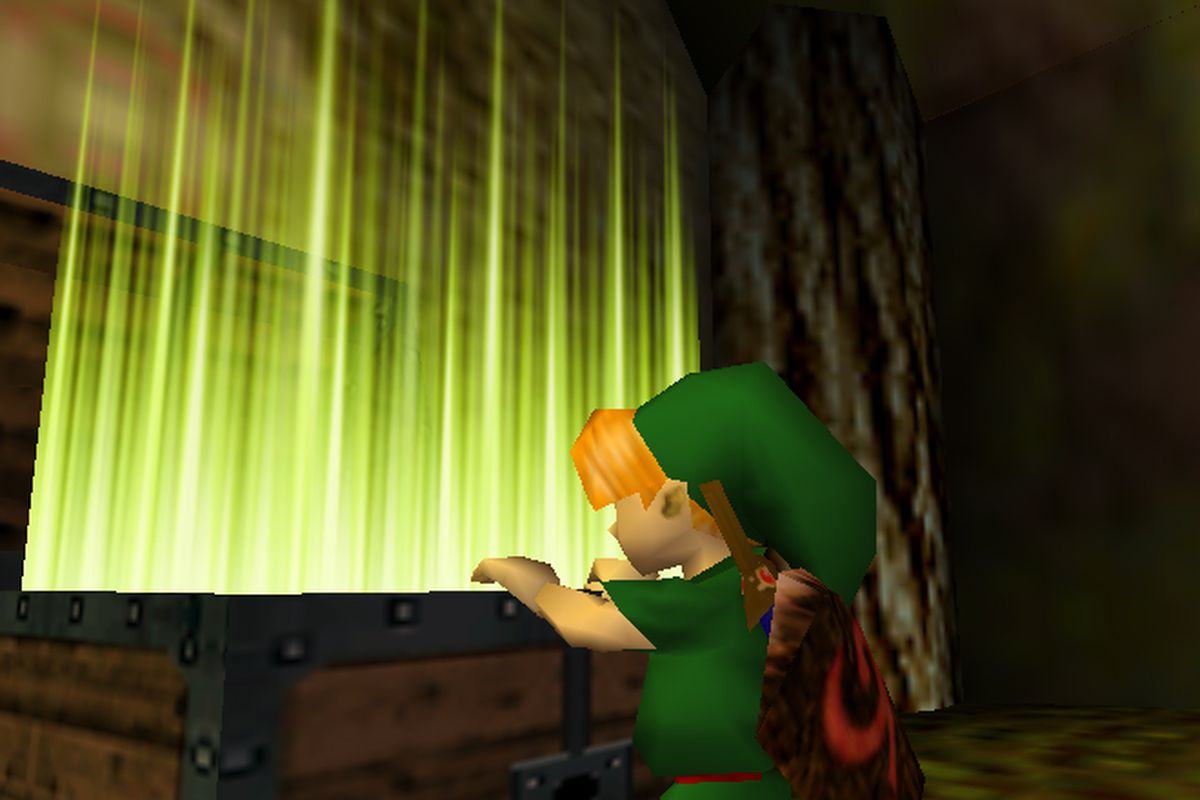 the legend of zelda ocarina of time - link opens chest