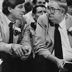New Jazz Head coach Jerry Sloan, left, with Jazz President Frank Layden pictured in 1998.