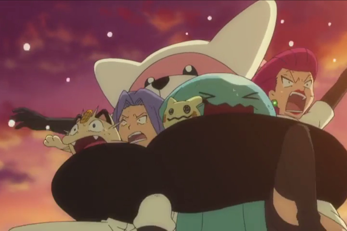 Bewear grabs the members of Team Rocket and prepares to take them back home after a failed mission