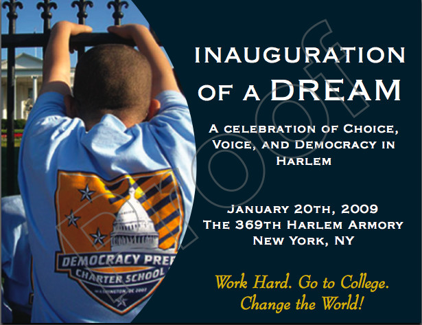 A postcard Democracy Prep sent out inviting other schools and parents to their Harlem Armory inauguration party.