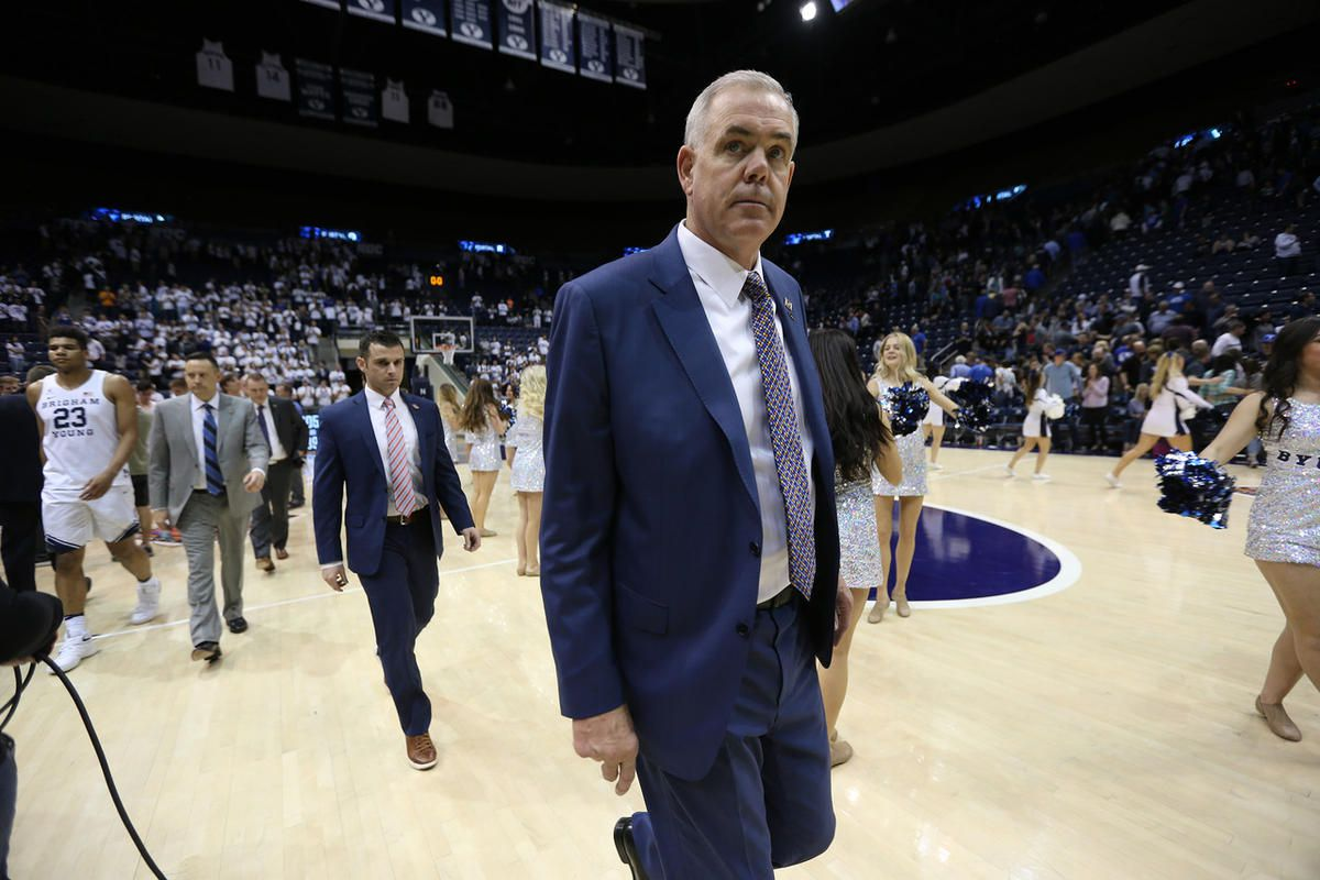 BYU head coach Dave Rose and his staff exit the floor as BYU falls to the University of Texas at Arlington in NIT action at the Marriott Center in Provo Utah on Wednesday, March 15, 2017.