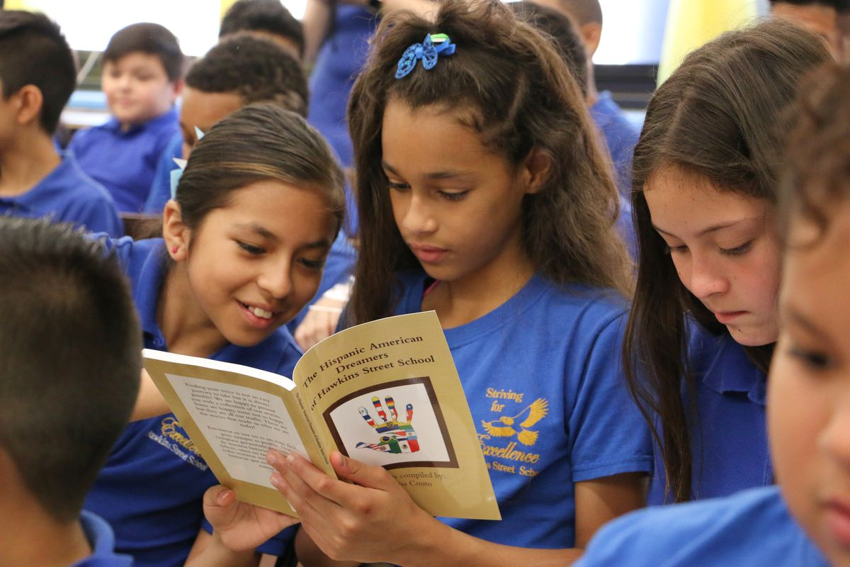 Hawkins Street students read their work at the book launch.
