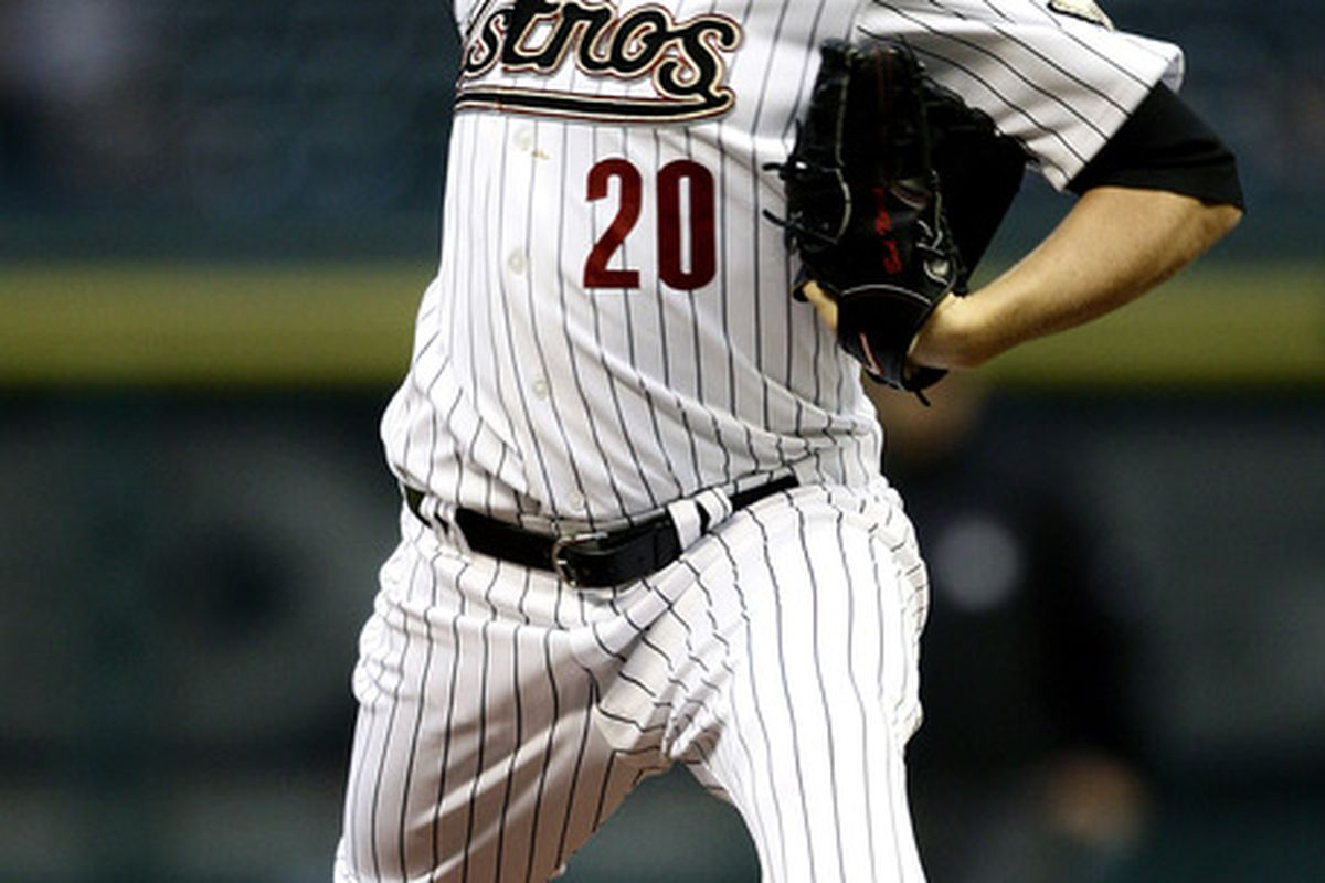 HOUSTON - Bud Norris throws a lot of sliders.  (Photo by Bob Levey/Getty Images)