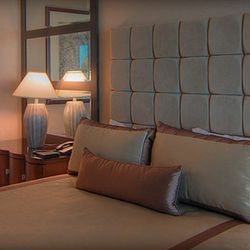 """Instead of traveling somewhere tropical, Sandra Bullock and Jesse James picked <a href=""""http://www.mandalaybay.com/accommodations/thehotel/thesuite/"""">THEhotel</a> at Mandalay Bay in Vegas."""