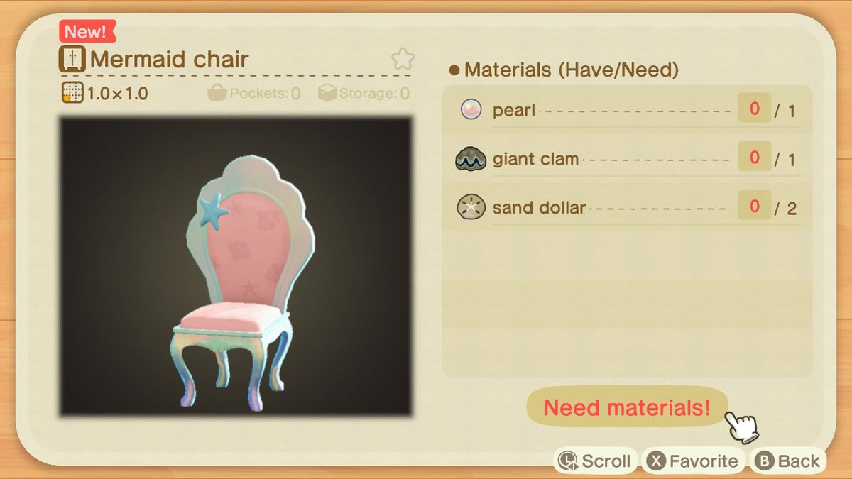 An Animal Crossing recipe for a Mermaid Chair