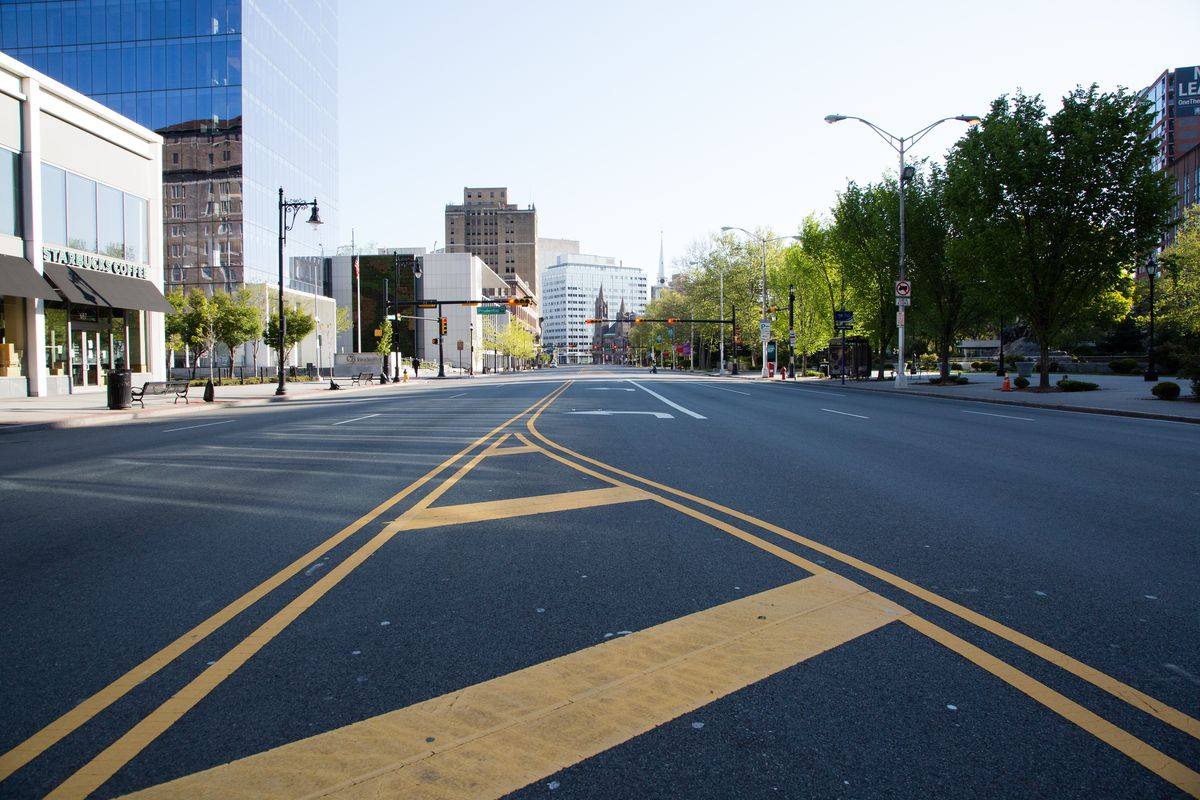 Broad Street sits empty during Newark's city wide shelter-in-place mandate during the ongoing coronavirus pandemic on May 09, 2020 in Newark, New Jersey.
