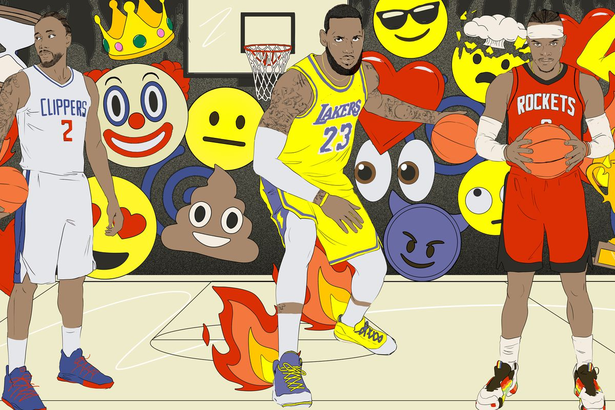 A surreal illustration of Lebron James, centered. Russell Westbrook, right. Kawhi Leonard, left. Behind them is an overwhelming cascade of emojis.
