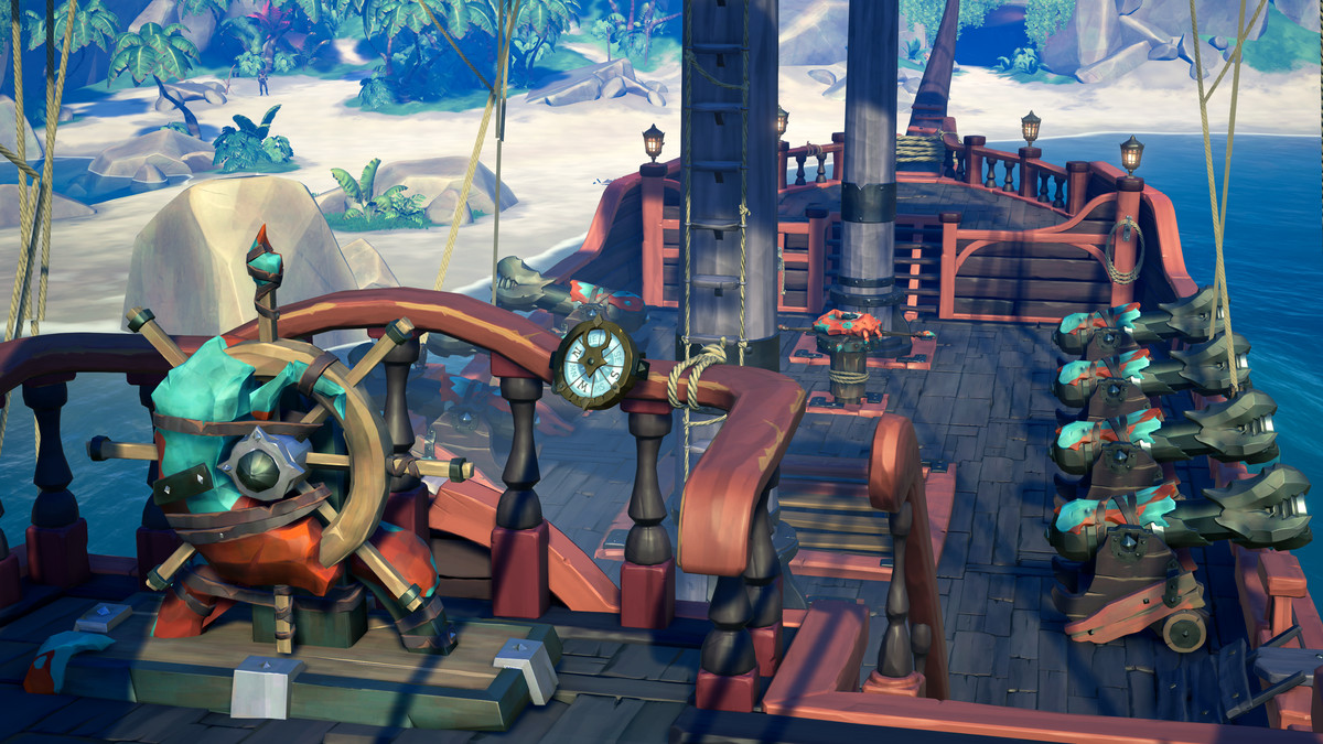 A customized set of ship cosmetics in Sea of Thieves