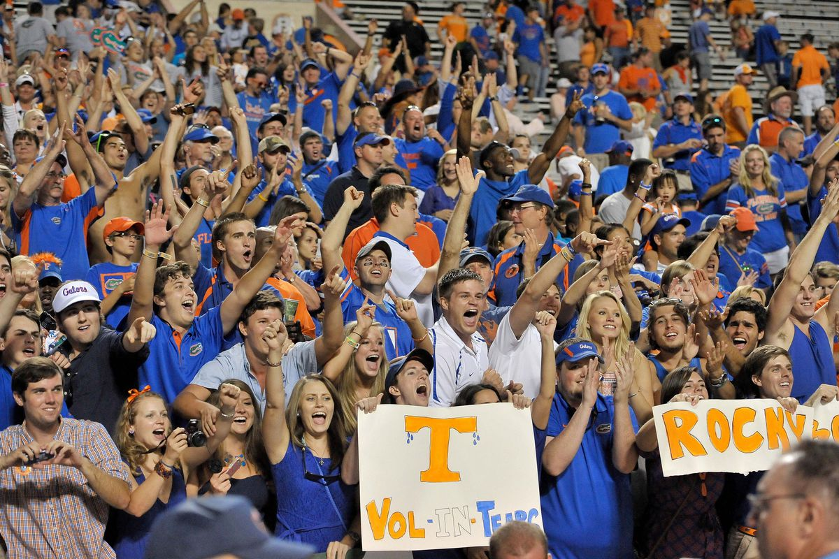 Sep 15, 2012; Knoxville, TN, USA; Florida Gators fans celebrate their team scoring against the Tennessee Volunteers during the second half at Neyland Stadium. Florida defeated Tennessee 37-20. Mandatory Credit: Jim Brown-US PRESSWIRE