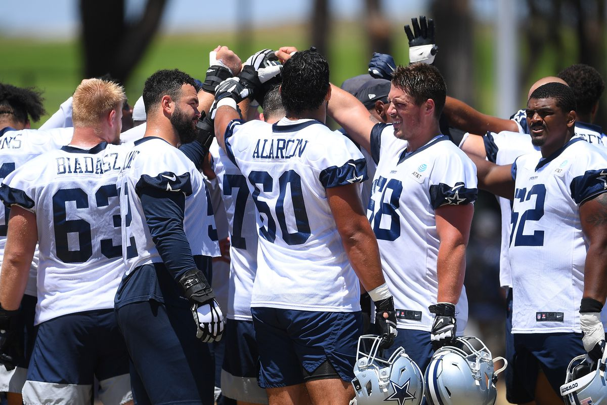 Dallas Cowboys players huddle on the field during training camp at River Ridge Complex on August 3, 2021 in Oxnard, California