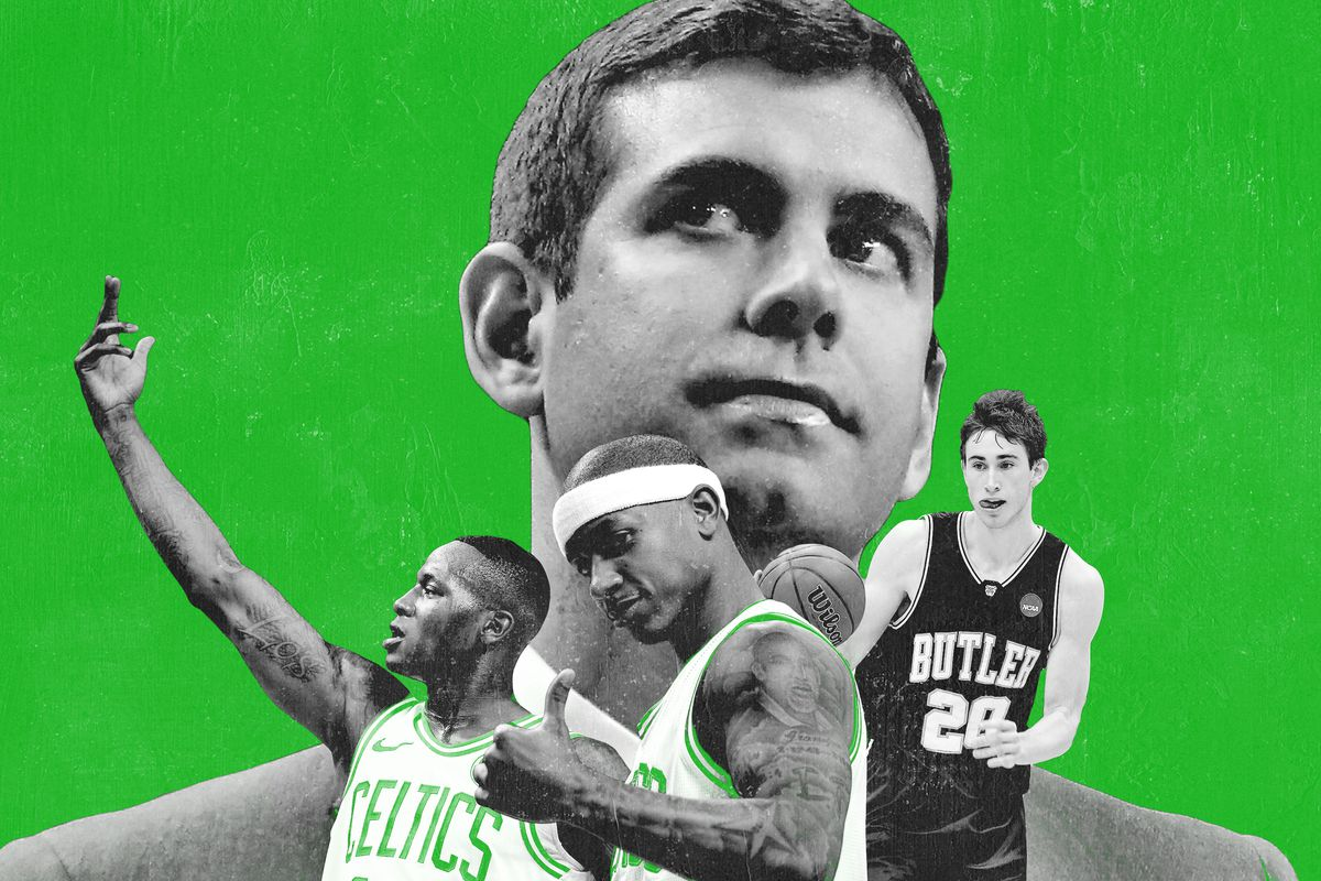 Brad Stevens with players from the Celtics and Butler
