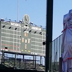 """The scoreboard, now missing the plate where """"CUBS"""" would be"""