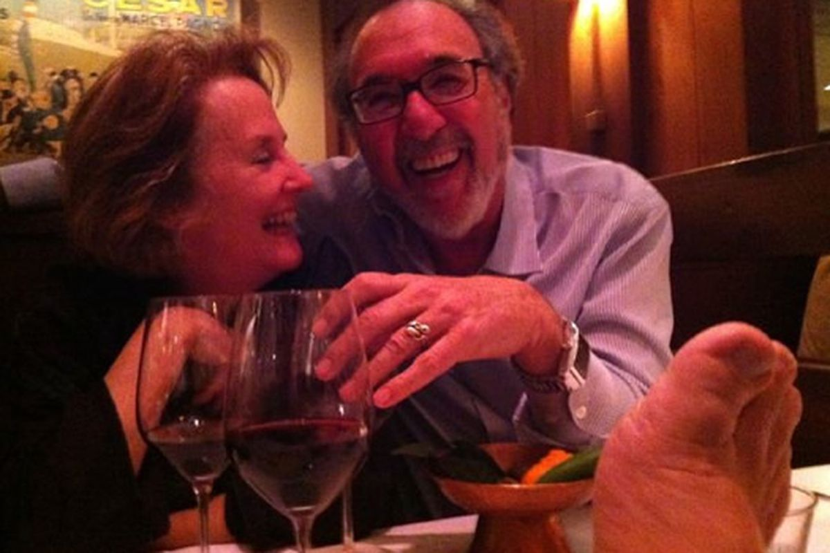 Left to right: Alice Waters, James L. Brooks, and Danny DeVito's Troll Foot