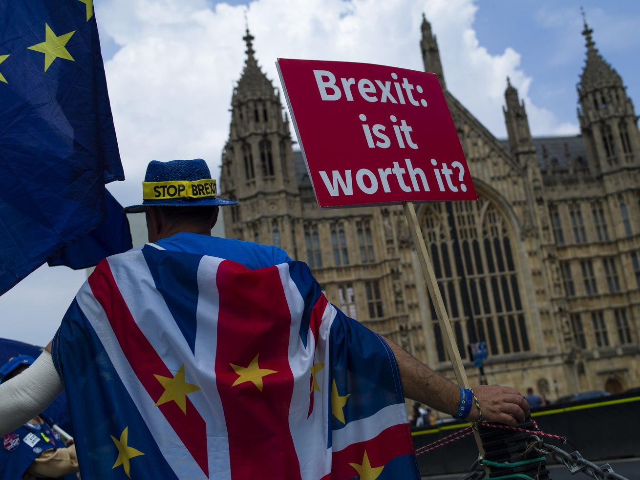 A man protests against Brexit outside the Houses of Parliament on July 5, 2018, in London, England.