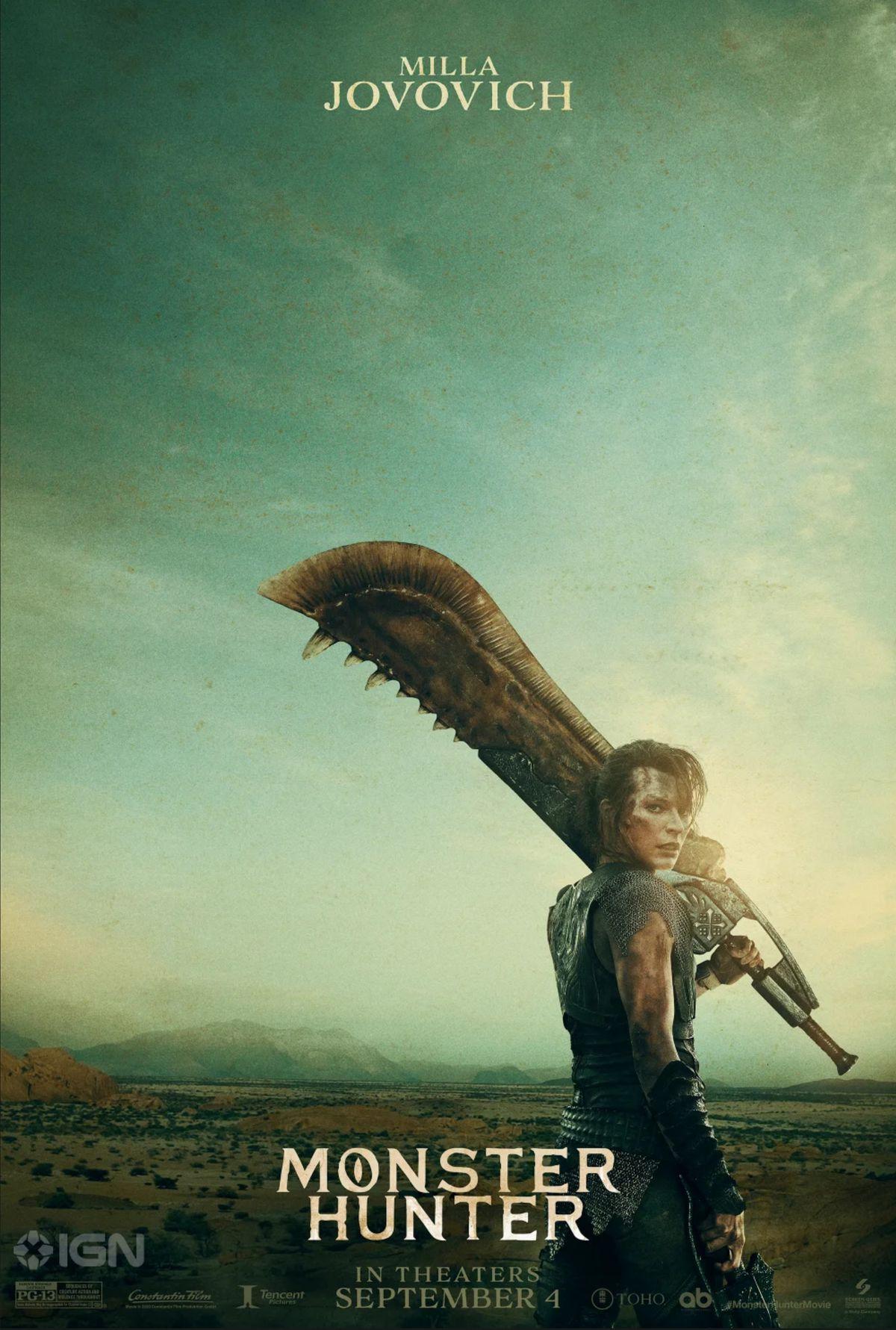 Milla Jovovich holds an oversized sword on a desert plain. The sky is a murky green.