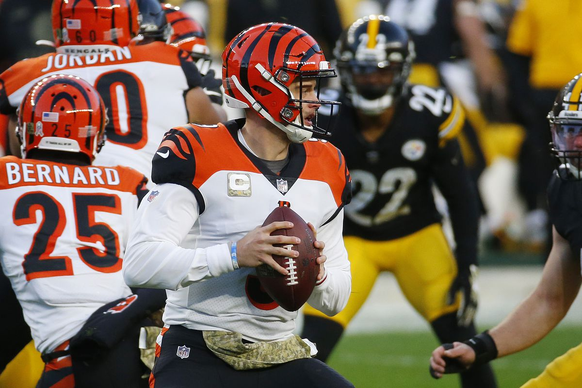 Joe Burrow #9 of the Cincinnati Bengals looks to pass against the Pittsburgh Steelers during their NFL game at Heinz Field on November 15, 2020 in Pittsburgh, Pennsylvania.