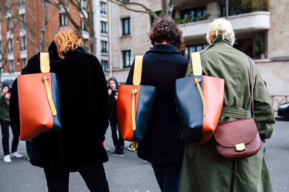 Céline bags outside the fall 2016 show in Paris