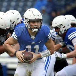 BYU's QB Zach Wilson competes in the Blue-White game at LaVell Edwards Stadium in Provo on Saturday, April 7, 2018.