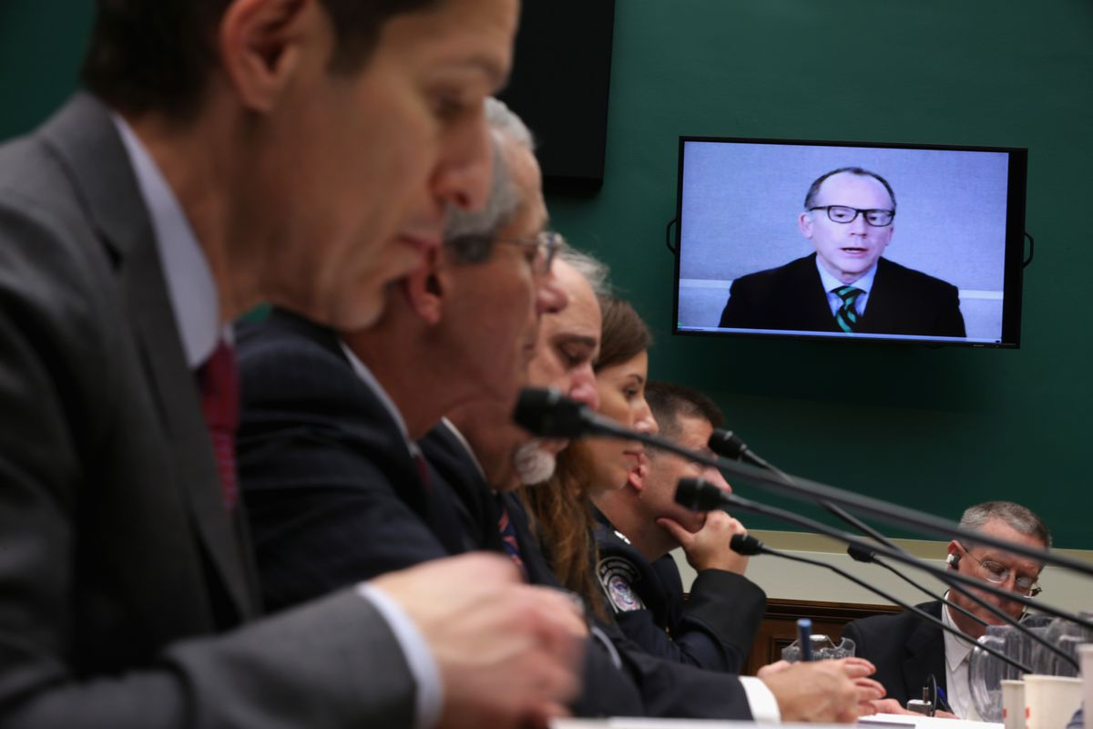 People testifying to Congress through a video conferencing call.