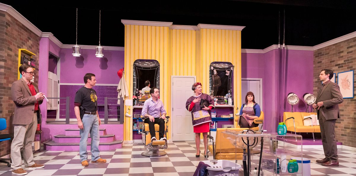 "Sam Woods (from left), Joe Popp, Ed Kross, Mary Robin Roth, Brittany D. Parker and David Sajewich star in ""Shear Madness"" at the Mercury Theater."