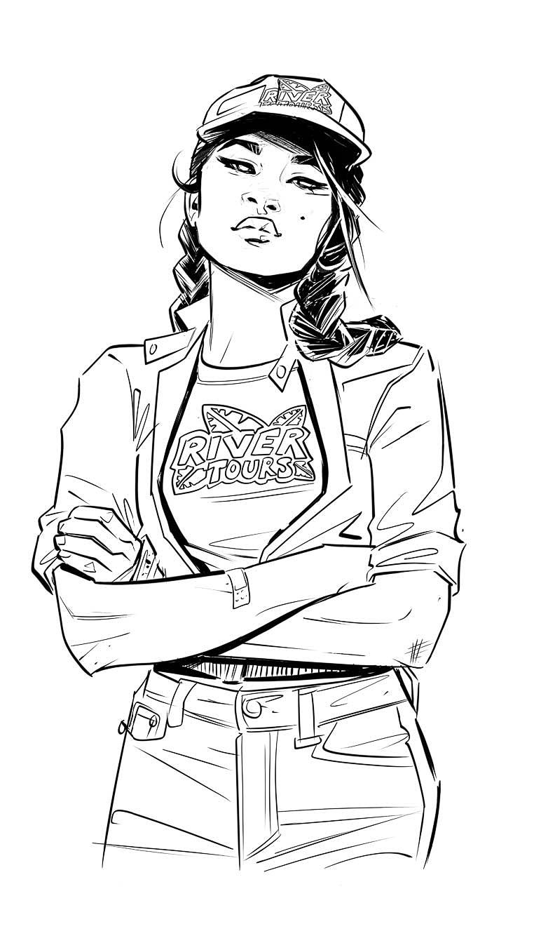 A black and white drawing of Yara looking bored and wearing a job uniform for River Tours.