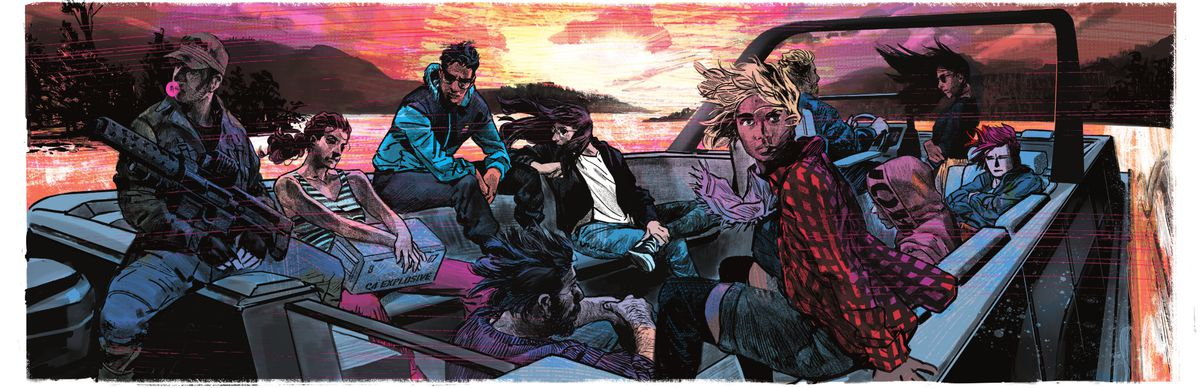 All ten thirty-something protagonists of The Nice House on the Lake sail across the lake in a speedboat at sunset in The Nice House on the Lake #5 (2021).