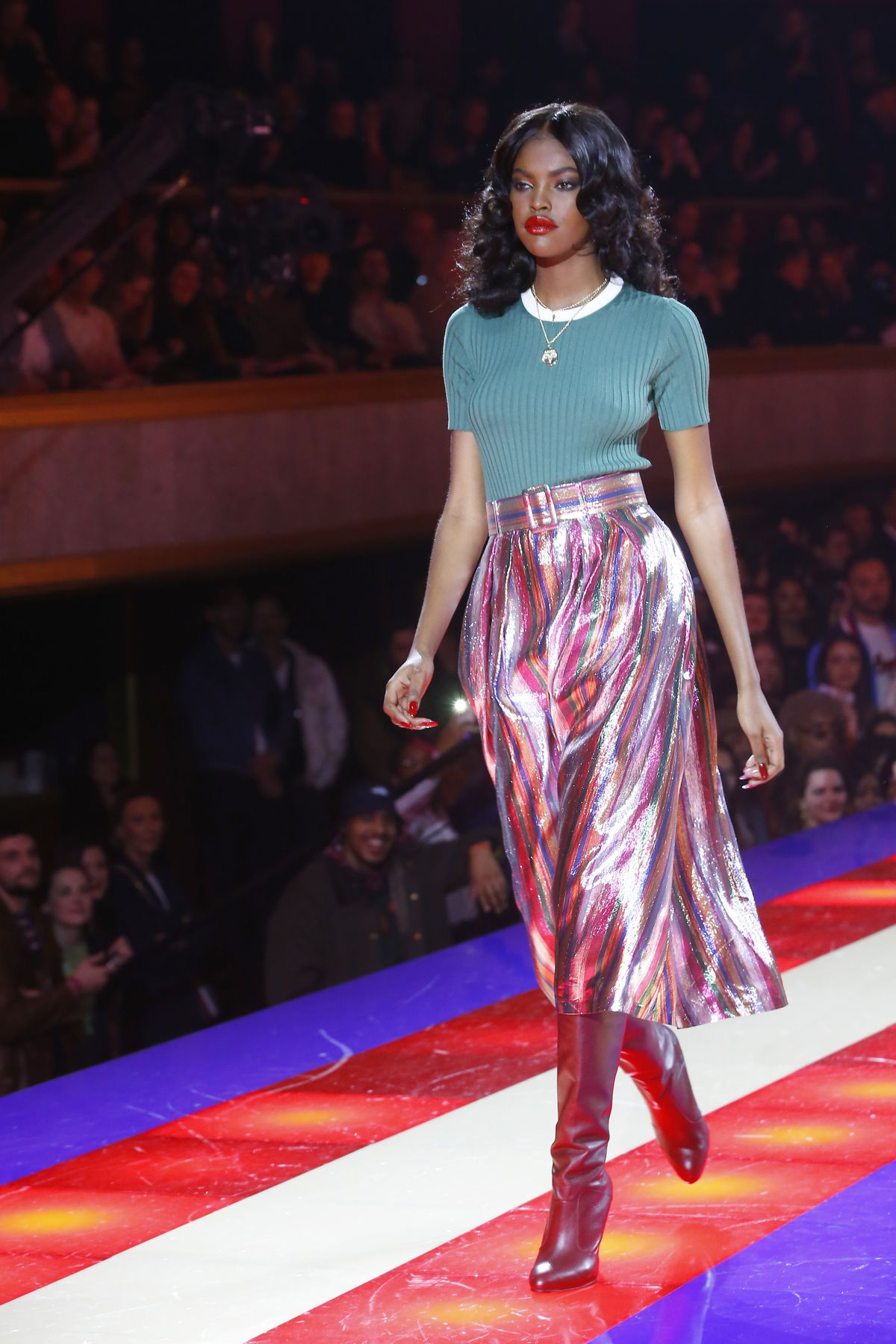 4610f698 For Hilfiger's disco-inspired show, the Champs-Elysees Theatre flashed with  Pac-Man and Space Invaders arcade games while excited guests, including  British ...