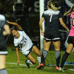 BYU Elena Medeiros (27) turns to celebrate a goal as BYU and UNLV play in the first round of the NCAA tournament in Provo on Friday, Nov. 11, 2016.