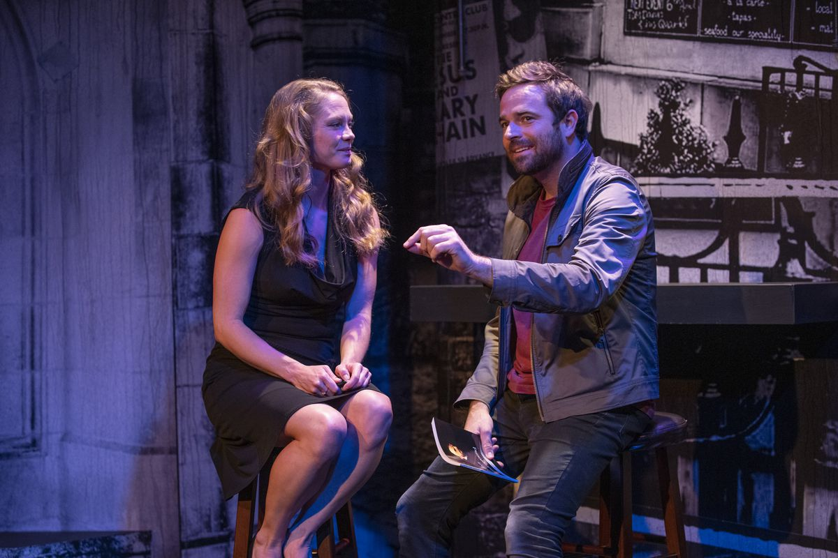 """Chaon Cross stars as Helena and Patrick Mulvey portrays Bob in Greenhouse Theater Center and Proxy Theatre's Midwest premiere of """"Midsummer (A Play with Songs)."""""""