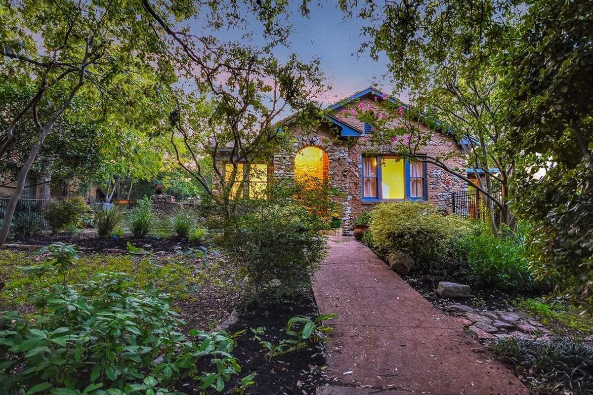 1939 stone home at twilight