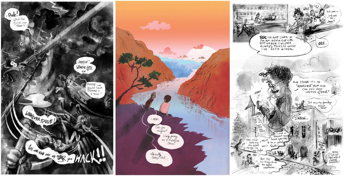 Three illustrated panels from a graphic book.