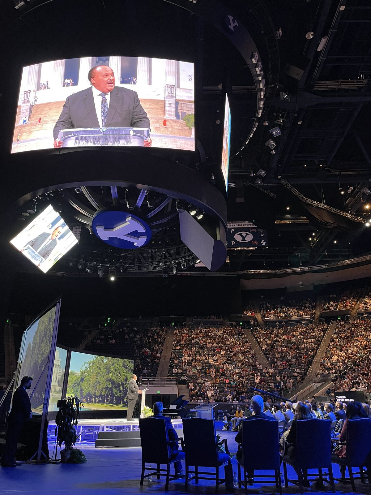 Martin Luther King III speaks to a large forum audience at Brigham Young University in Provo, Utah, on Sept. 28, 2021.
