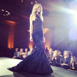 Black stretch chiffon strapless mermaid with micro-pleated bodice and asymmetrical sheared flange skirt. Obsessed.
