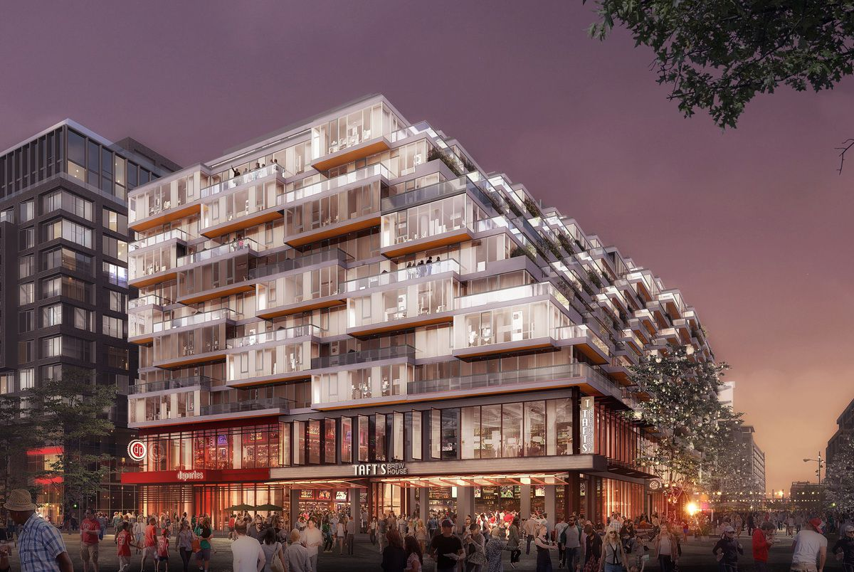 A rendering of a tiered residential and retail building with outdoor terraces.