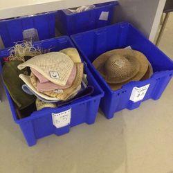 $5 and $15 straw hat bins