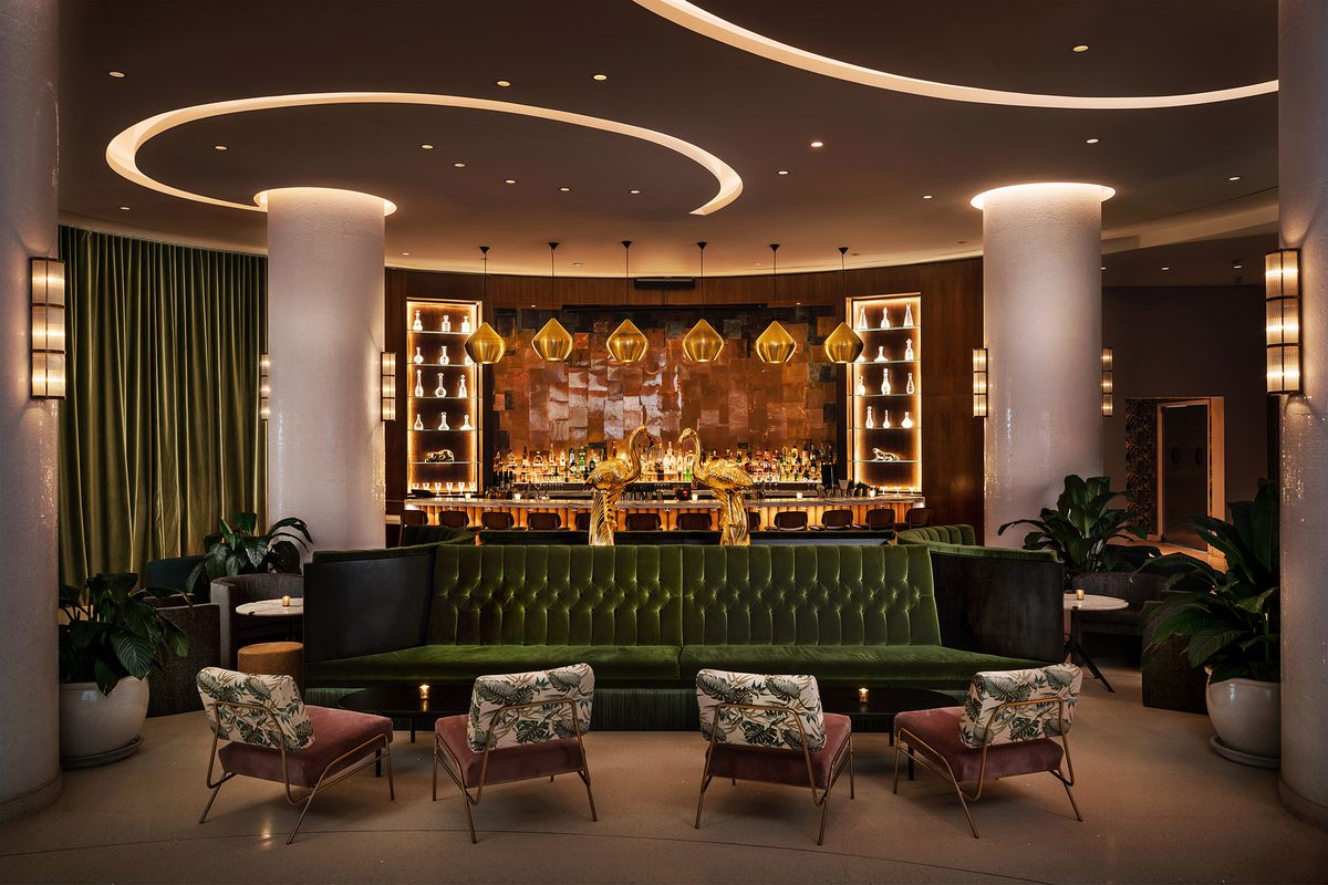 Bar with green lounge chairs