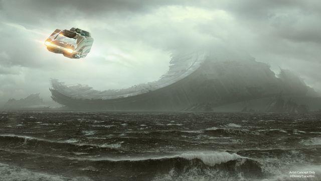 a star tours ship rushes towards the ocean moon of Kef Bir