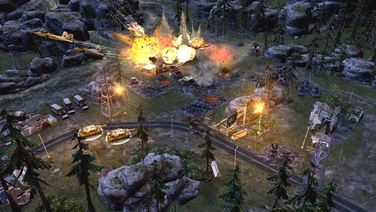 A night battle showing off explosions in War Commander: Rogue Assault