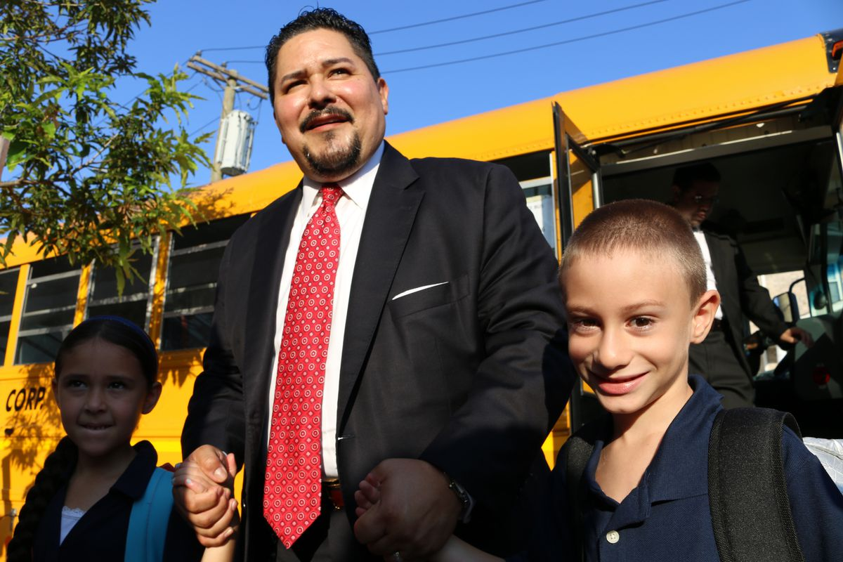Schools Chancellor Richard Carranza rode a school bus to P.S. 377 in Ozone Park, Queens, on the first day of the 2018-2019 school year.