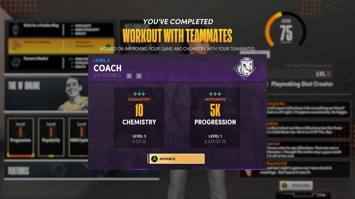 Screen showing a player's choice to practice with teammates, earning a fixed amount of career XP.