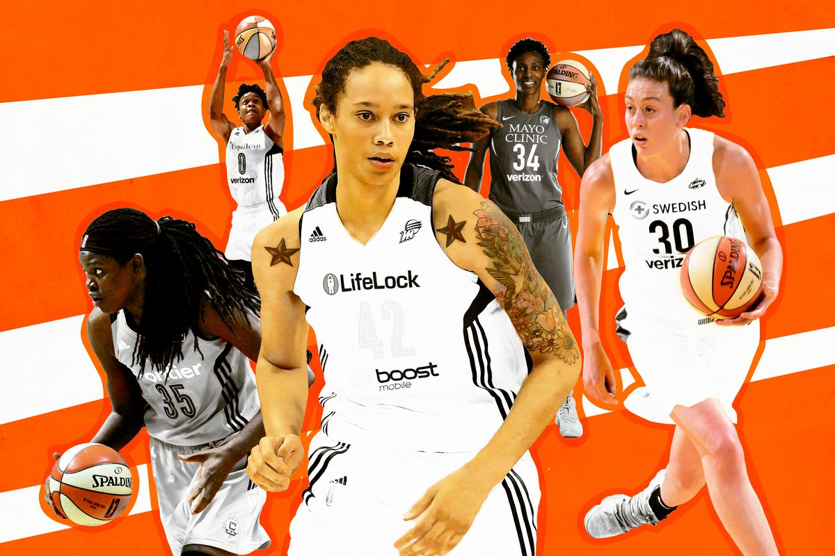 A collage of WNBA players