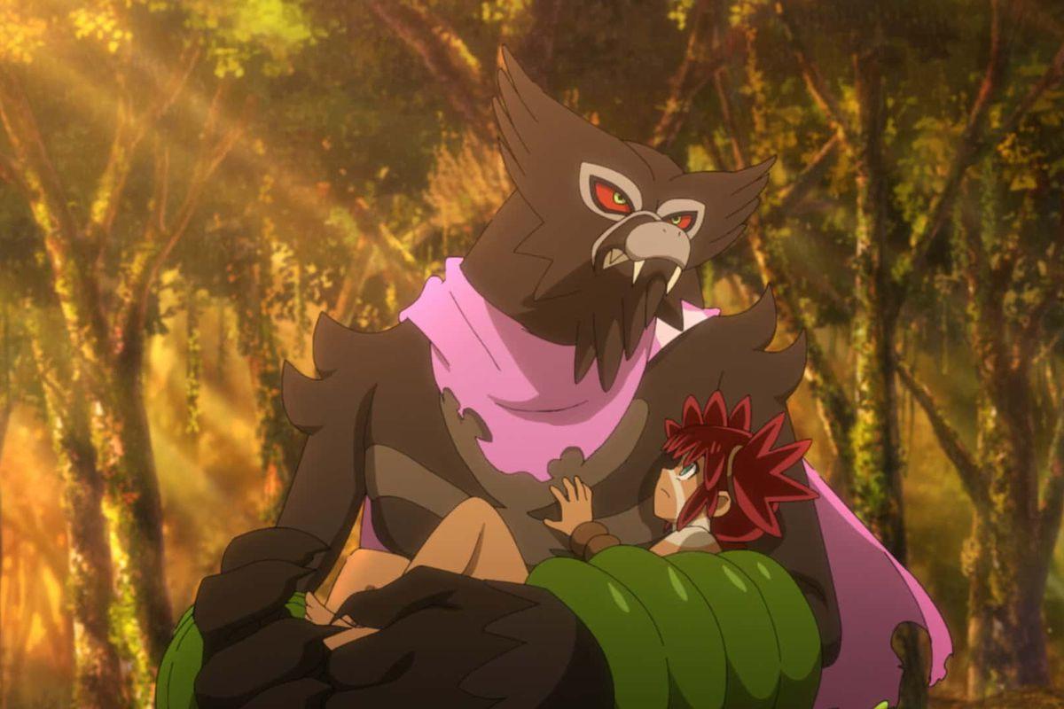 The Mythical Pokémon Zarude carrying Koko in Pokémon the Movie: The Secrets of the Jungle