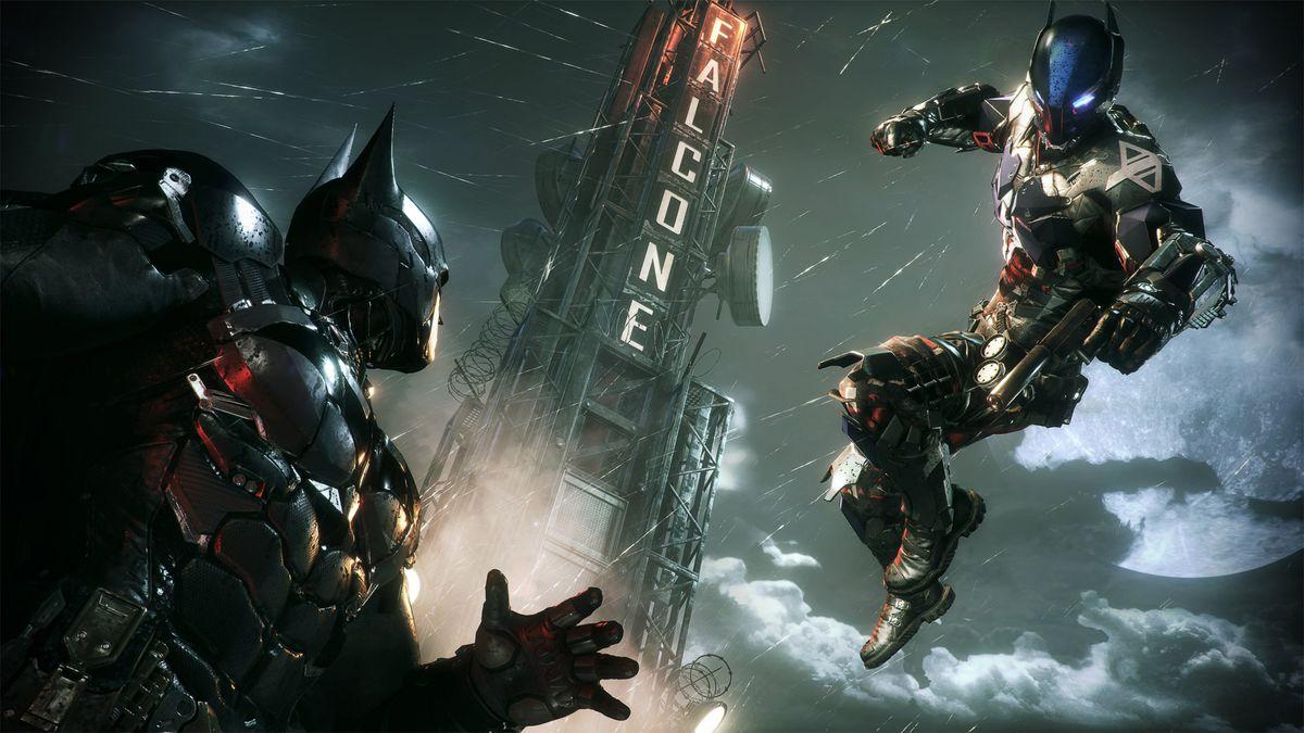 Batman: Arkham Knight - the Arkham Knight leaping toward Batman