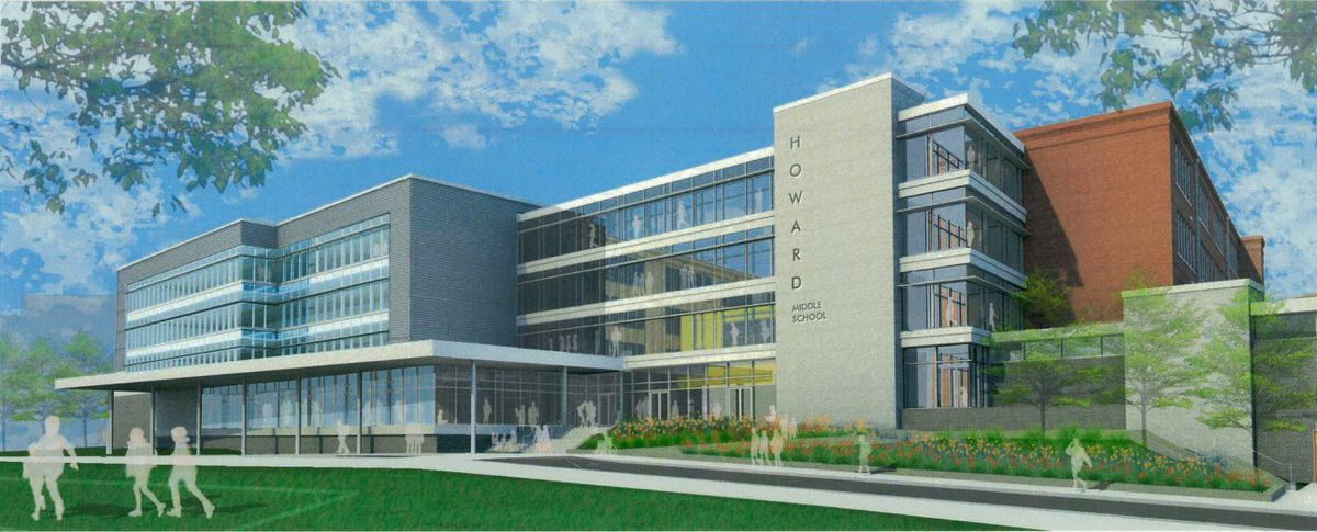 Another architect rendering of the to-be remodeled Howard High School