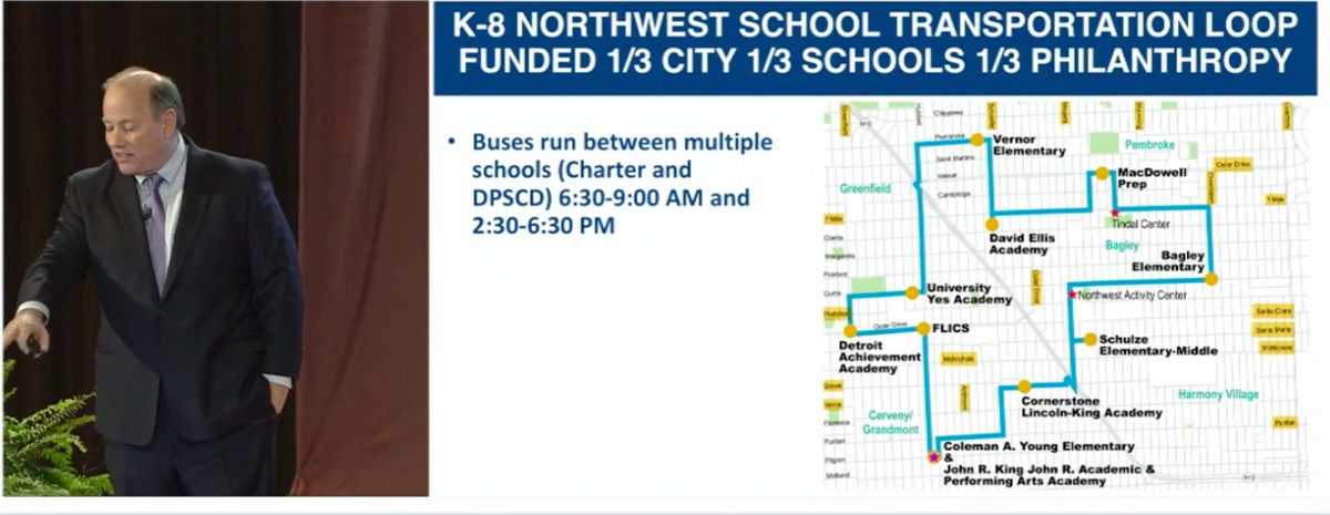 Mayor Mike Duggan shows proposed school bus route that could bring students to district and charter schools in northwest Detroit.