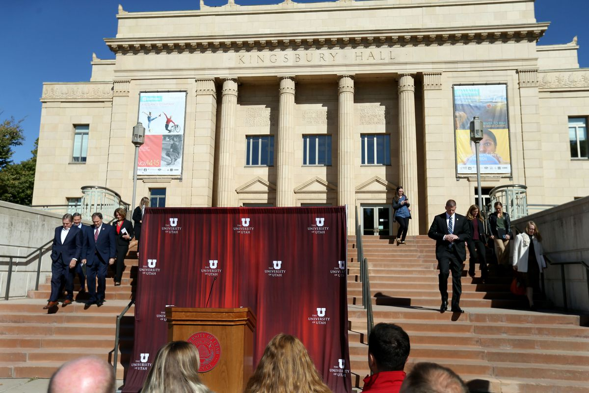Speakers walk down the stairs of the University of Utah's Kingsbury Hall in Salt Lake City on Friday, Oct. 11, 2019, to announce the U. has been selected to host the vice presidential debate on Oct. 7, 2020.