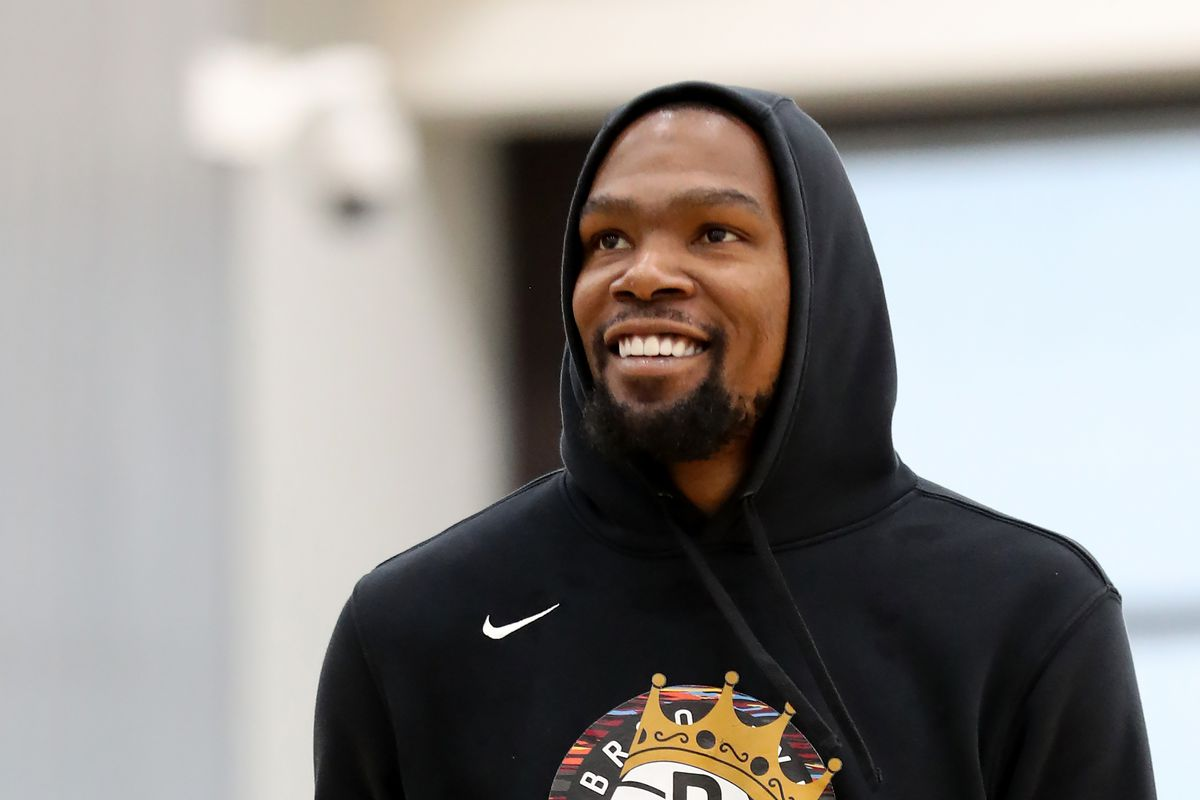 Kevin Durant of the Brooklyn Nets smiles during practice on October 1, 2019 at HSS Training Center in Brooklyn, New York.